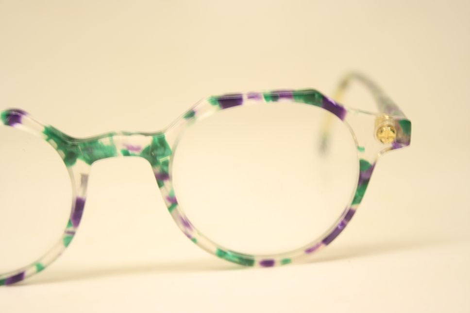 Vintage Eyeglass Frames Colorful Retro P3 shaped 1980's vintage eyewear NOS Deadstock