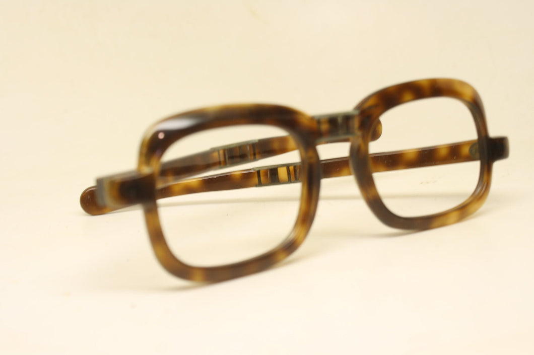 Folding Tortoise Rectangular vintage Eyeglasses Retro Glasses Unused