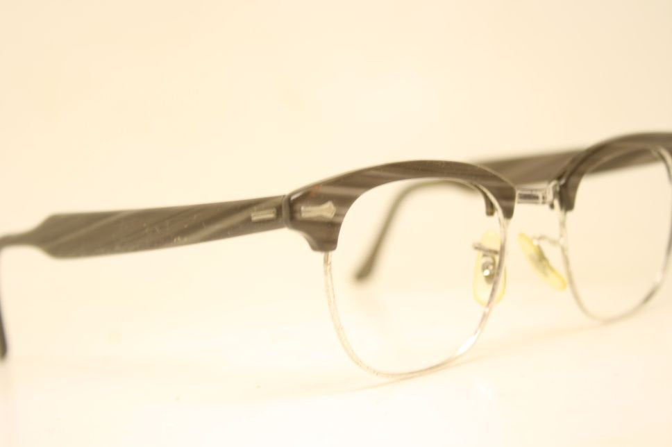 Gray Briar Browline 1950's Wire Rim Eyeglasses G Man Style Malcolm X glasses g man eyeglasses