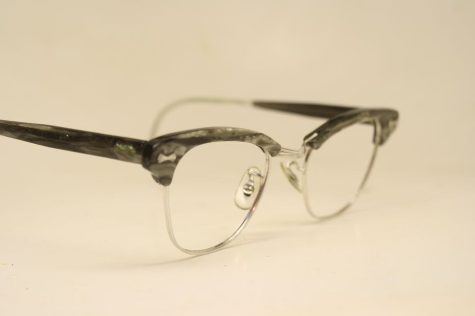 Silver Gray Cat Eye Eyeglasses white gold filled Vintage Eyewear Retro Glasses Cat Eye Frames