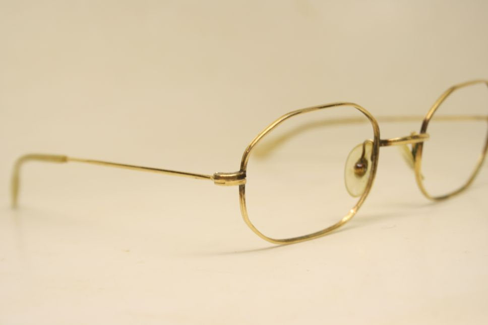 Vintage Glasses Frames Octagonal shaped  12k Gold vintage eyewear Antique Eyeglasses