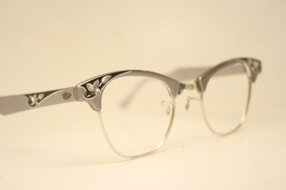 Silver Gray Cat Eye Eyeglasses Vintage Eyewear Retro Glasses Cat Eye Frames