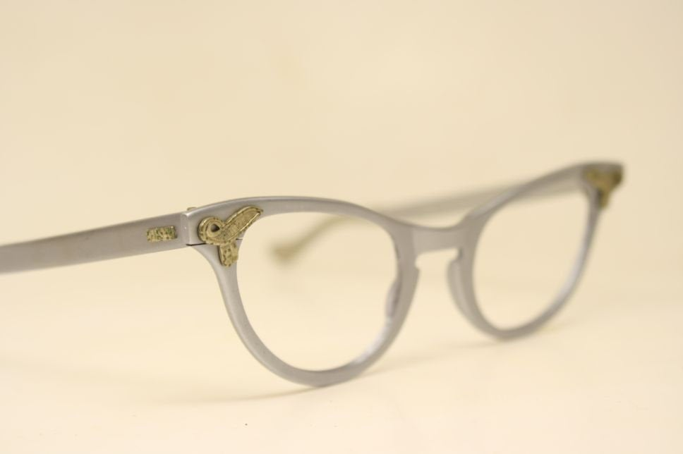 Unused Small Silver Gray Cat Eye Glasses Vintage Eyewear Retro Glasses Catseye glasses vintage frames