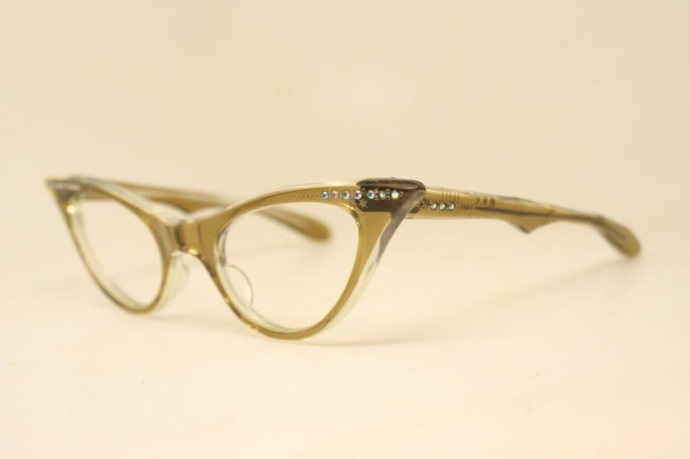 Brownsmoke Rhinestone Cat Eye Eyeglasses Vintage Eyewear Retro Glasses Cat Eye Frames