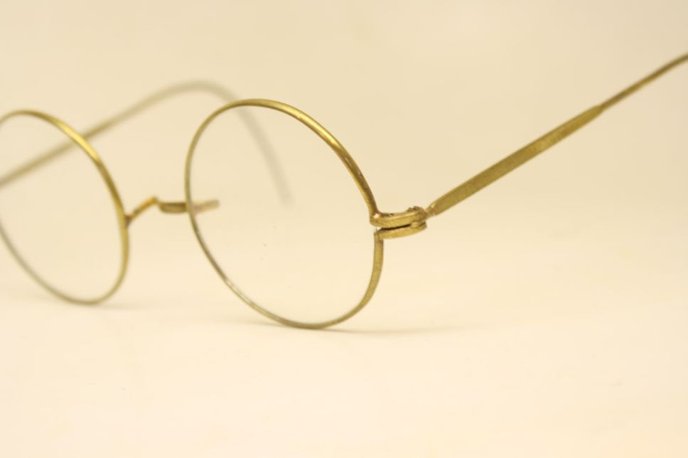 Perfectly Round Brass Oversize Glasses Frames Unique 1980s Retro Eyeglass Frames