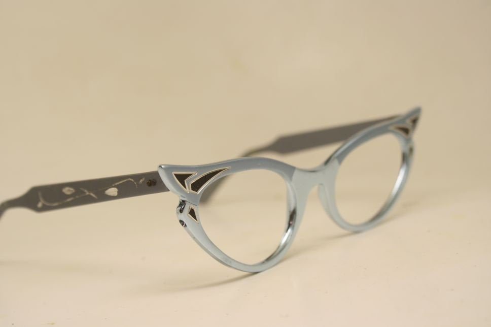 Small unused Blue Gray Cat Eye Glasses Vintage vintage Eyewear Retro Glasses Catseye glasses vintage frames