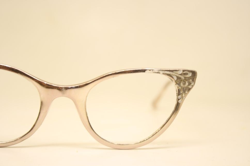 Vintage Hudson Silver Cat Eye Eyeglasses Vintage Eyewear Retro Glasses Cat Eye Frames