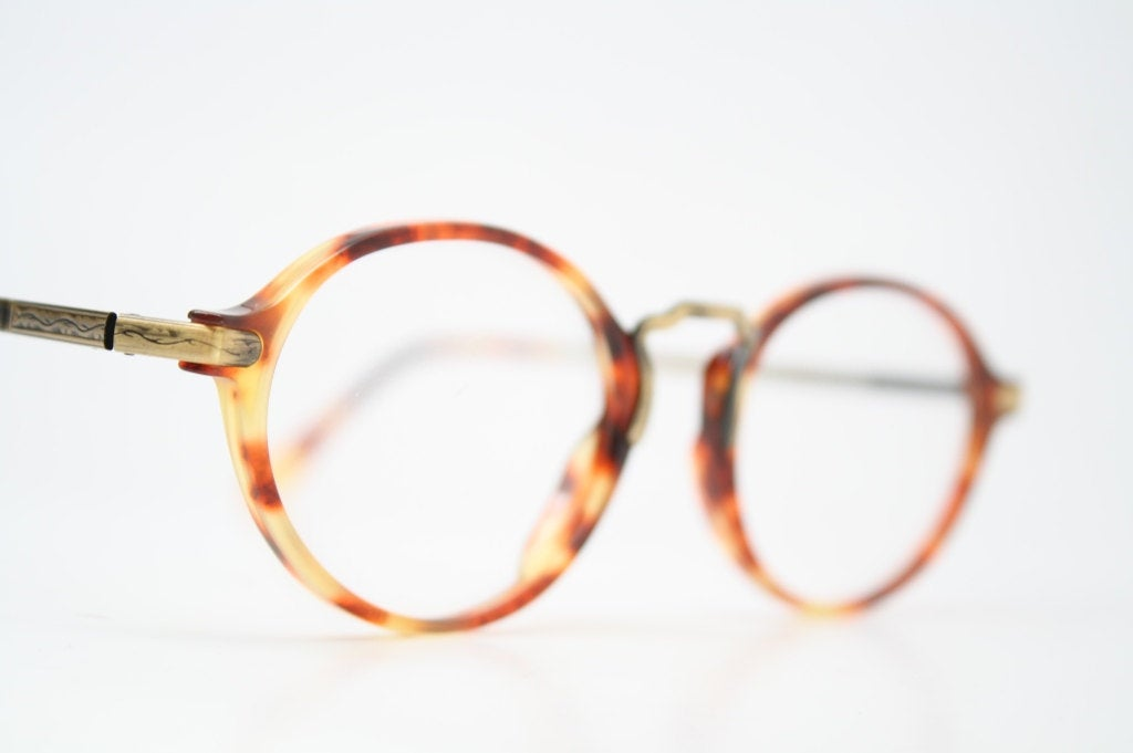 Unique Vintage Bronze Demi Amber Oval Shaped Eyeglass Frames Retro Eyeglasses