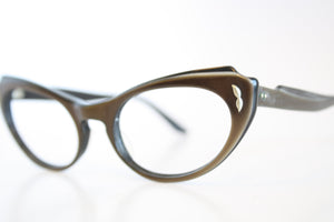 B&L Brown Cat Eye Eyeglasses Vintage Eyewear Retro Glasses Cat Eye Frames