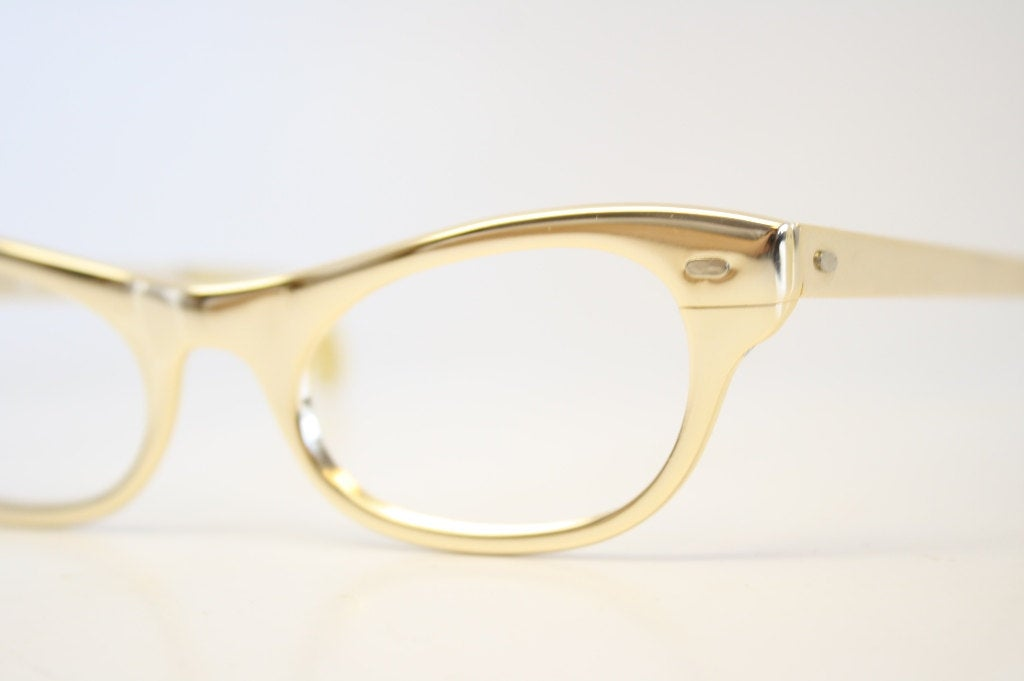 Cat Eyeglasses Gold vintage Eyewear Retro Glasses Catseye glasses vintage frames