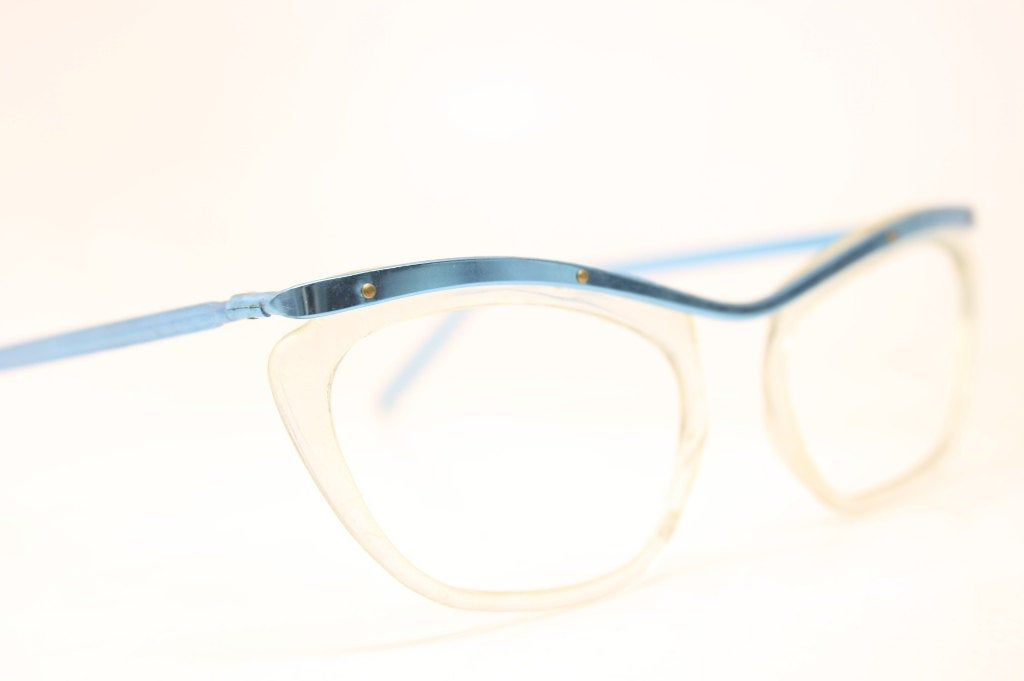 Vintage Eyeglasses Blue Clear Cat Eyeglasses Retro New Old Stock Fun Eyeglasses