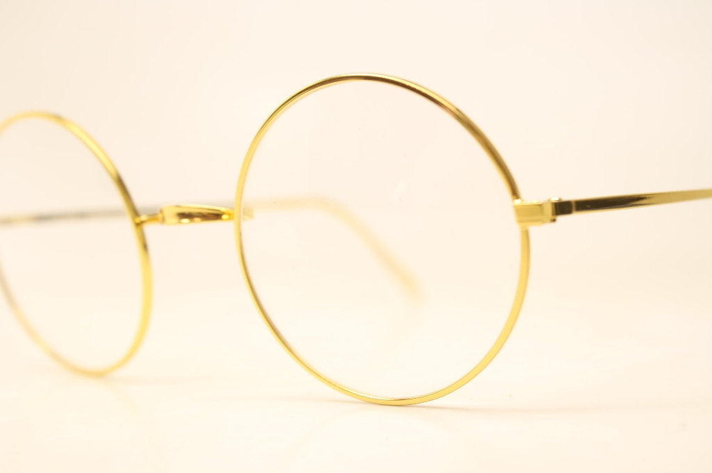 Perfectly Round Gold Glasses Frames Unique 1980s Retro Eyeglass Frames