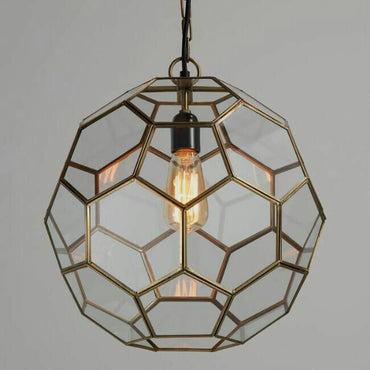 Antique spherical shaped gold on iron pendant lamp