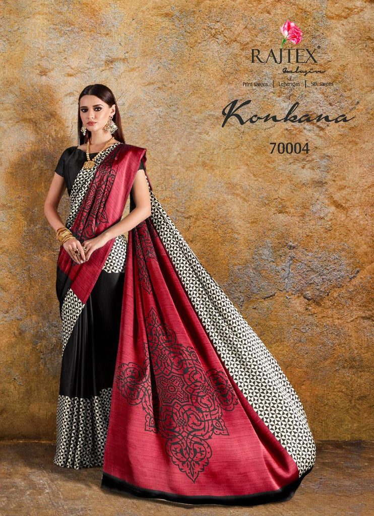 Konkana Silk Japan Crape Printed Designer Saree