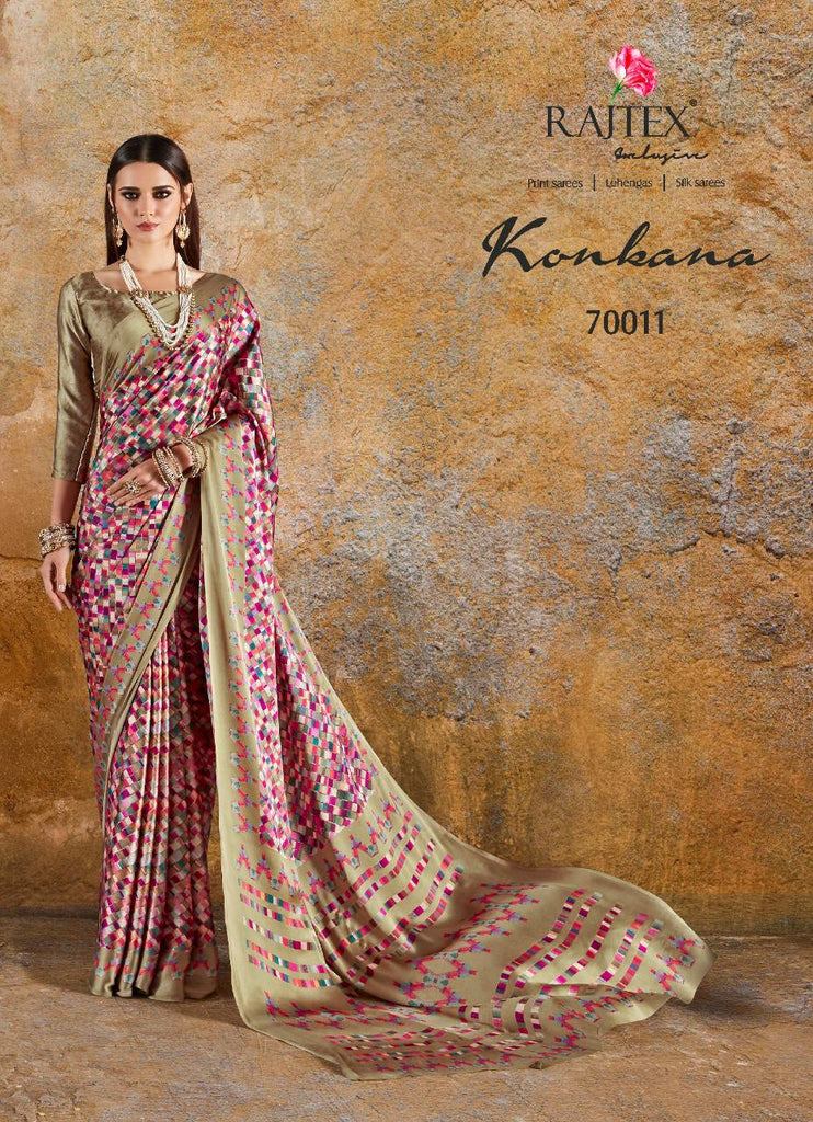 Konkana Silk Multicoloured Multicheckered Japan Crepe Saree
