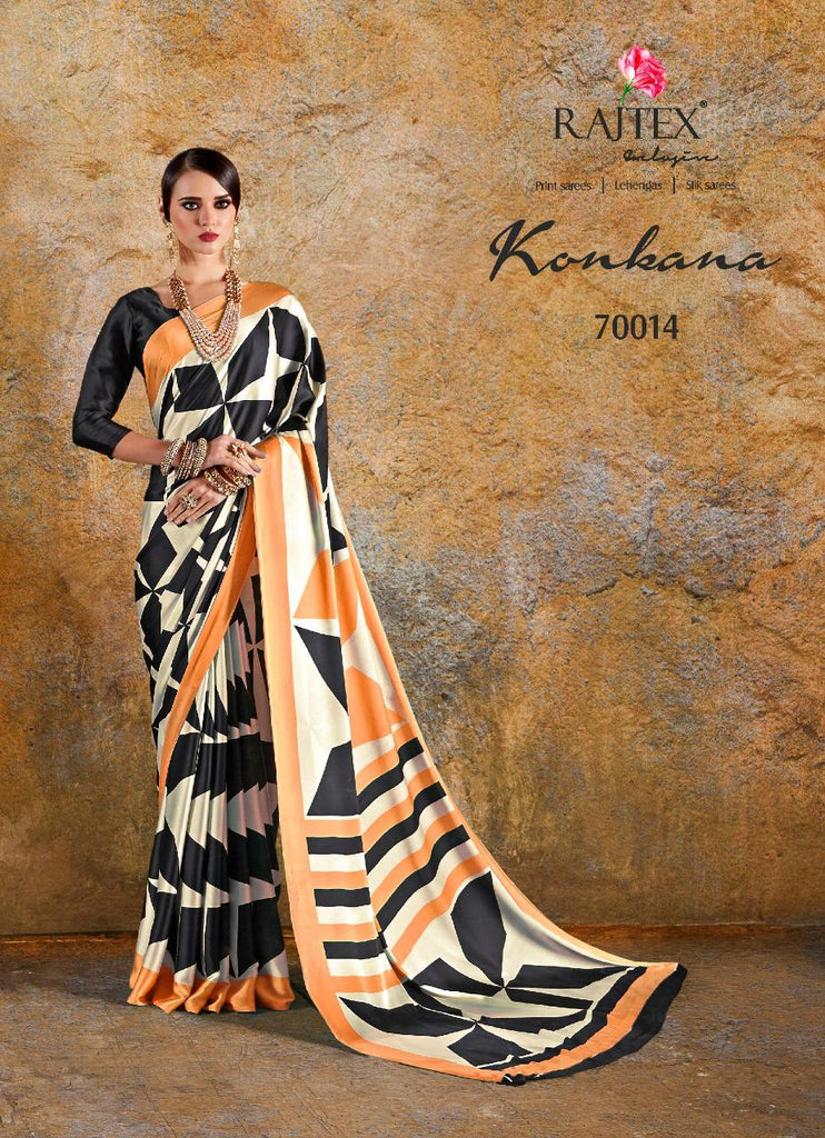 Konkana silk crape with stylish black and orange print