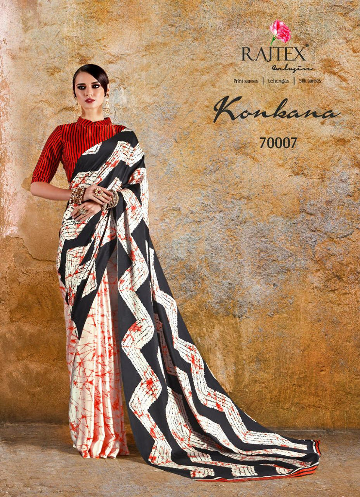 Japan crape designer black printed saree