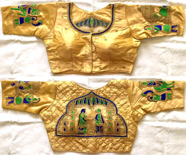 FERA  golden Designer sequence khalti handwork  silk blouse