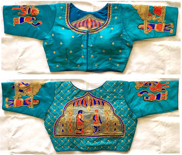 Designer fera light blue sequence khalti handwork blouse