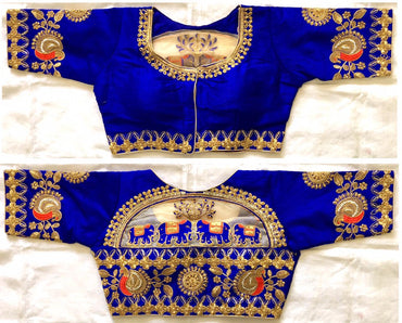 FERA silk blue Designer sequence khalti handwork blouse