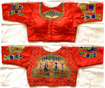 FERA Silk red Designer sequence khalti handwork blouse