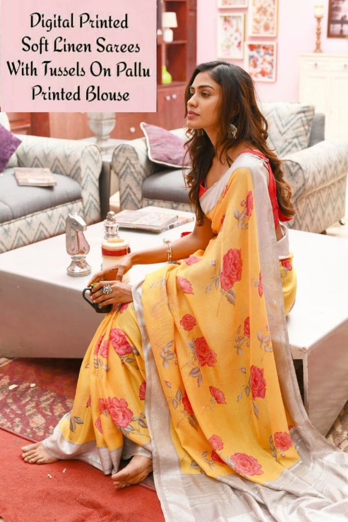 Digital floral printed yellow soft linen saree