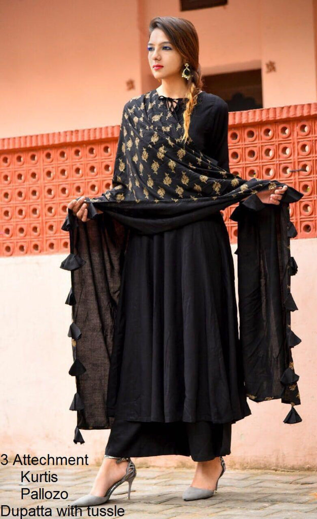 Women designer Black Kurti-Pallazo and Dupatta with motifs