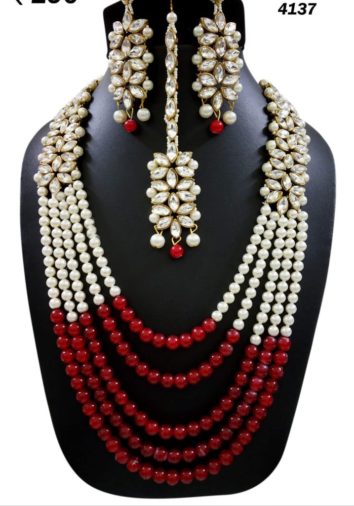 Five layered beautiful red beads necklace set