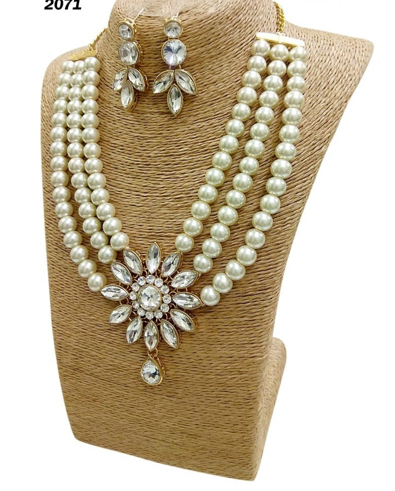 Multilayered pearl necklace set for women