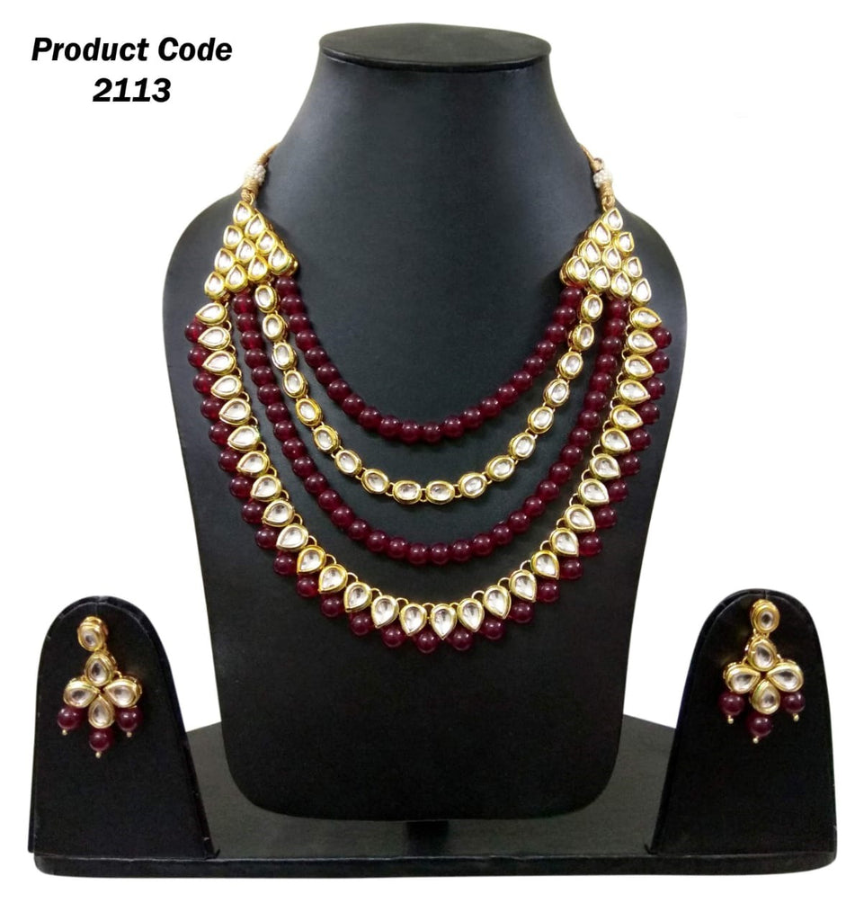 White stone and maroon beads multi layered necklace set