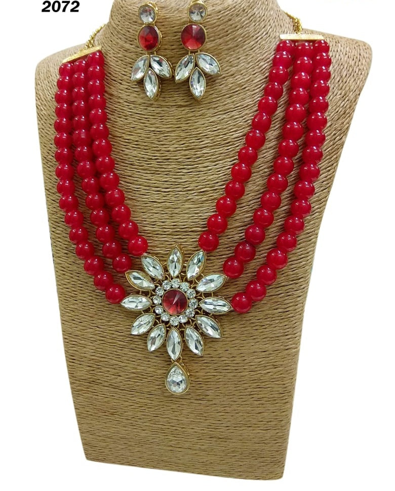 Red beads and white stone multilayered necklace