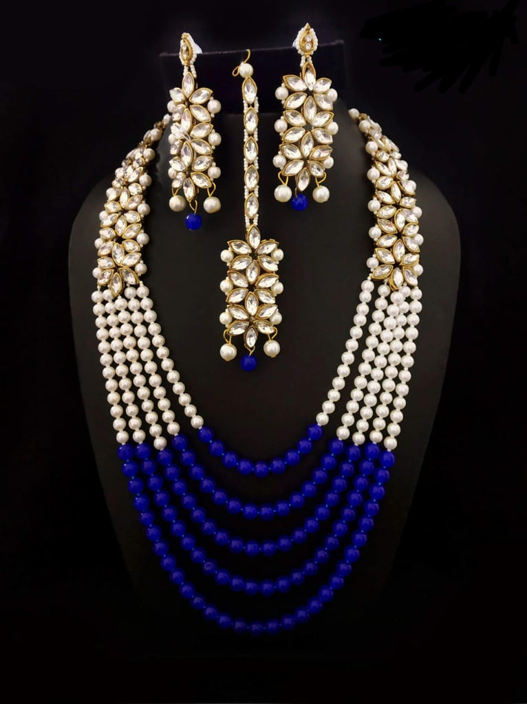 Five layered  beautiful blue beads necklaceset