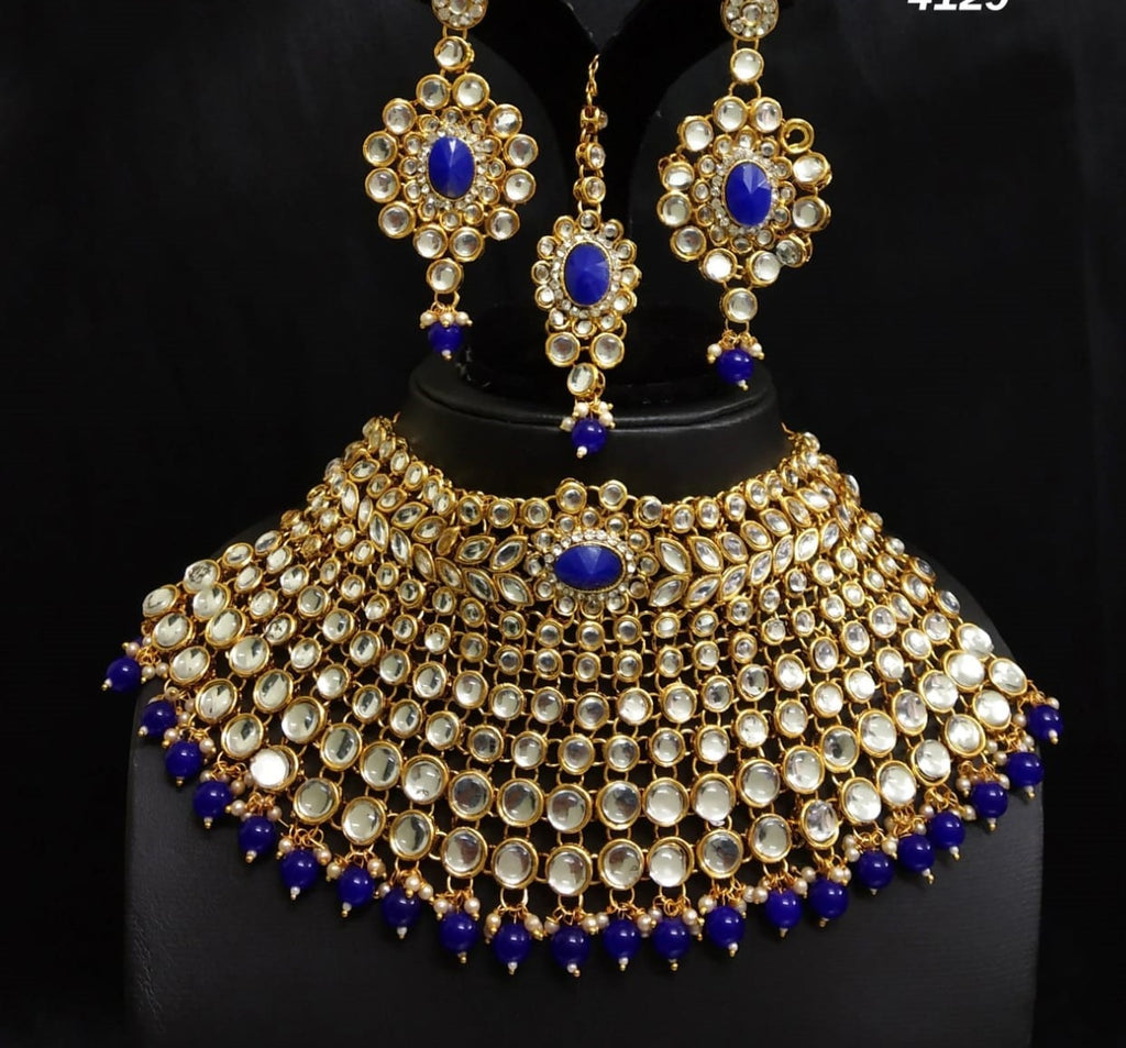 Traditional white stone and blue beads necklace set