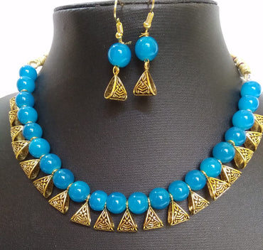 Blue gold plated jewellery set for women