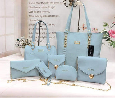 7 Pieces Women  Baby Blue bags set