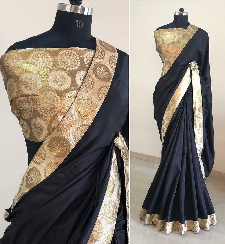 Sanna Silk Saree with Golden Banarasi border