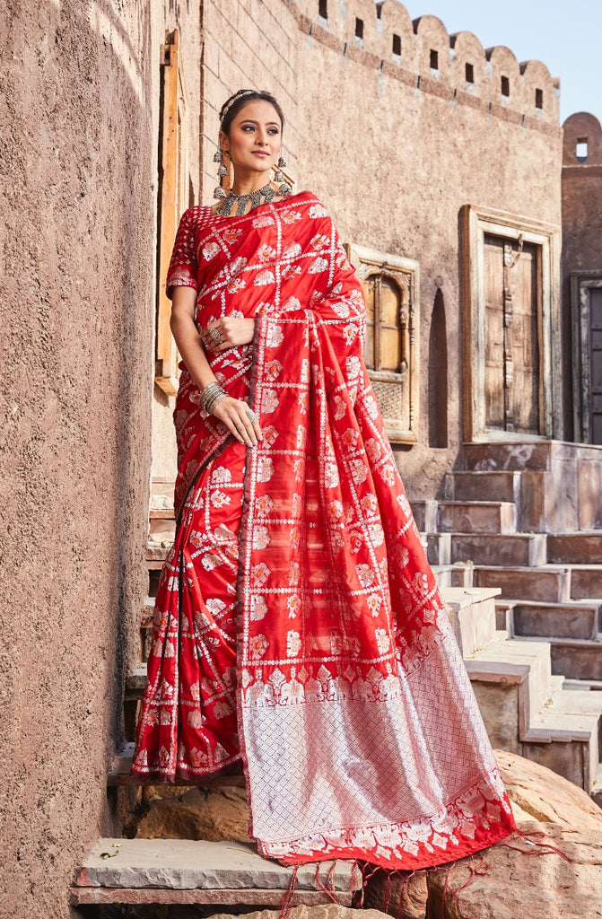 Lichi Red Silk Saree with Weaving Blouse