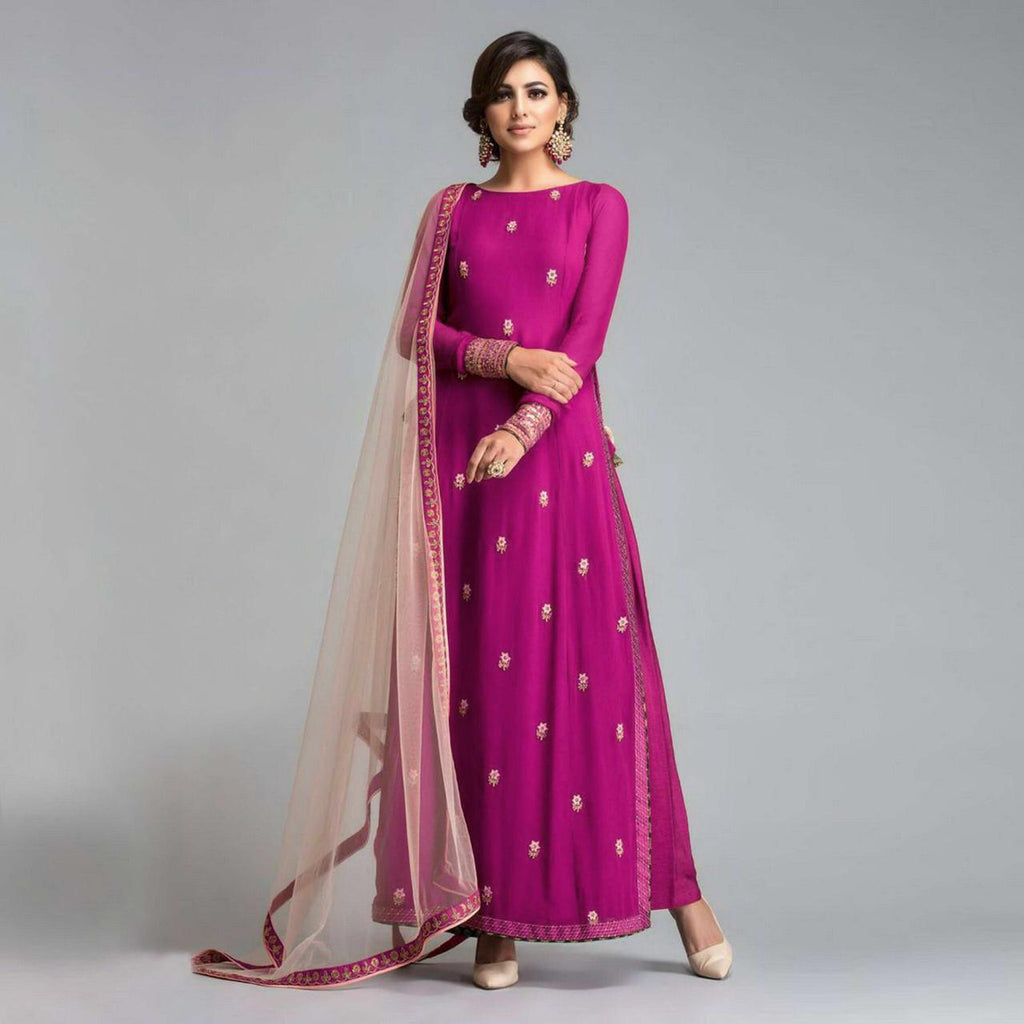Georgette  Pink long Suit with Net Dupatta