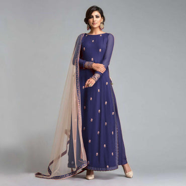 Georgette full long Suit with Net Dupatta
