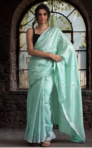 Linen saree with double blouse