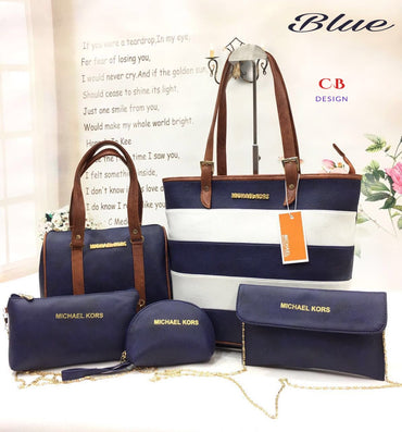Blue Leather Bag Set