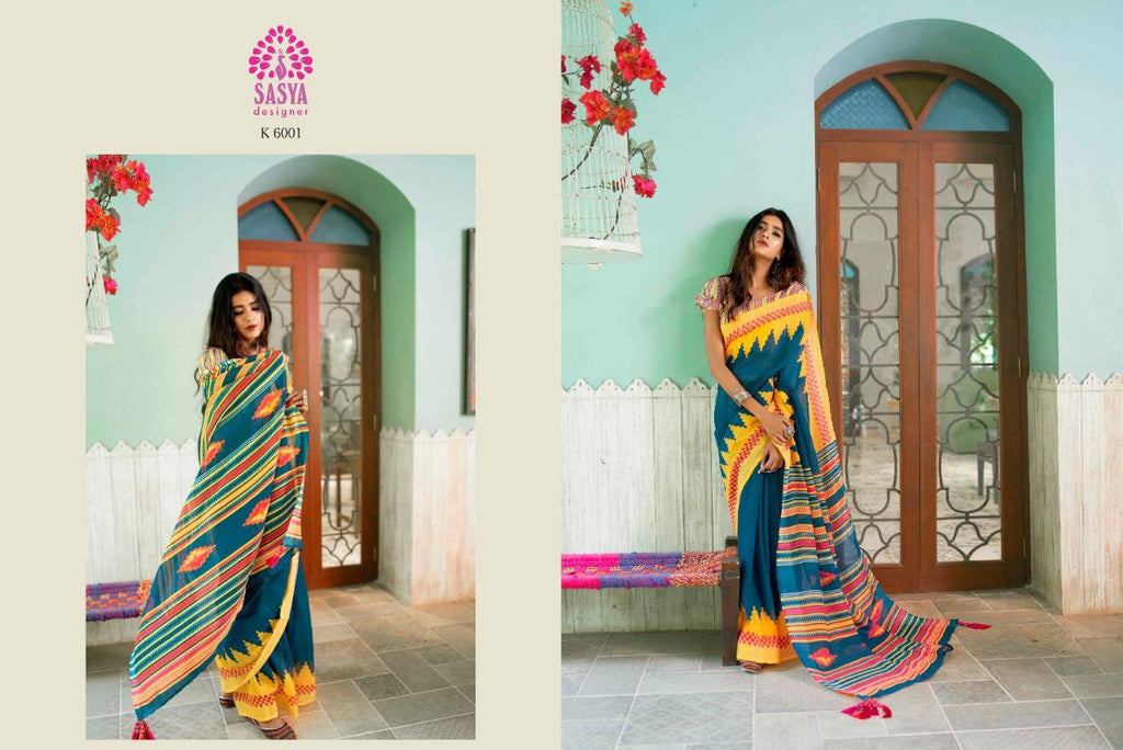 Linen silk saree with bloce piece