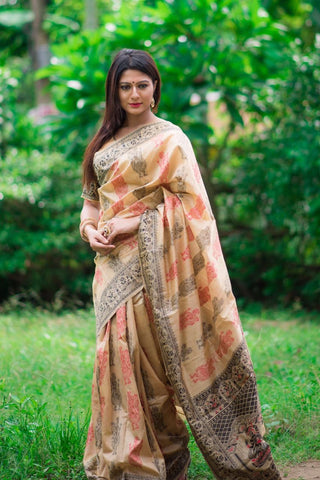Tassar silk saree