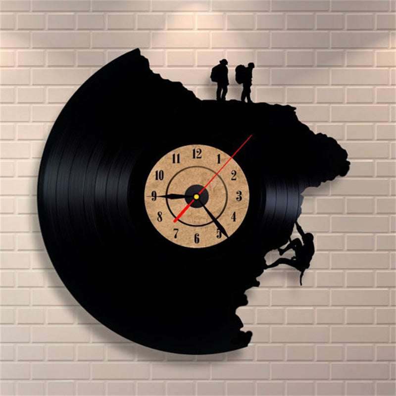 Large Decorative Wall Clocks Vinyl Record Clock Climbing Shape