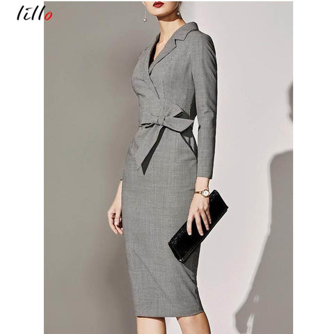 Office Lady Dress Safari Style Elegant Pleated Double Breasted Women Dress 2019 Spring Fall Office Dress Casual White Blazer Sli