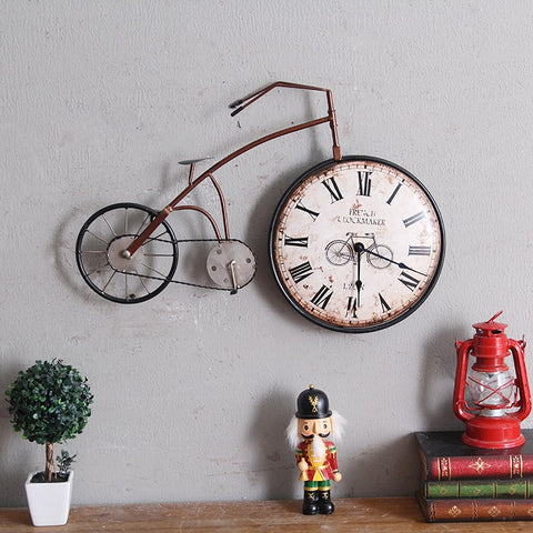 Retro Personality Bike Design Hanging Wall clock home decor