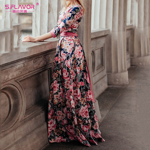 S.FLAVOR Bohemian printing long dress O-neck dress