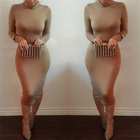 Sexy Women Bandage Dress Autumn Turtleneck Slim Long Sleeve Bodycon Dress Fashion High Neck Club Sheath Wrap Dresses HO950173