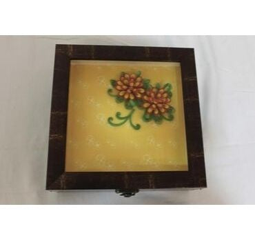 yellow and brown gift box with wooden finish