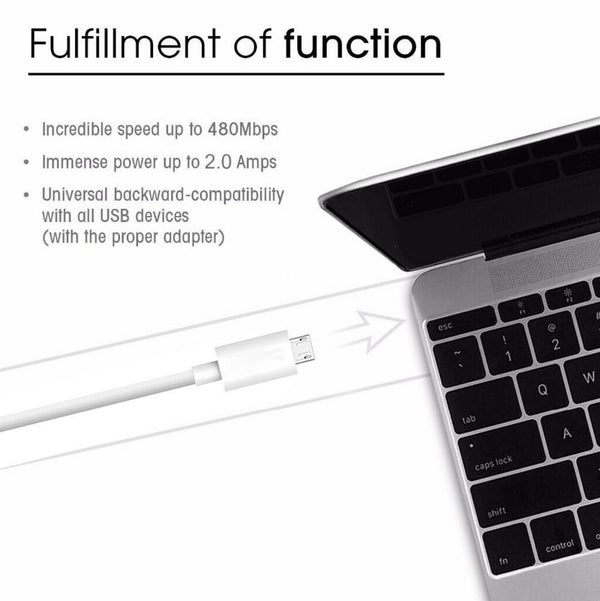 Micro USB Sync and Charge Cable in White (Price Per 5 Units)